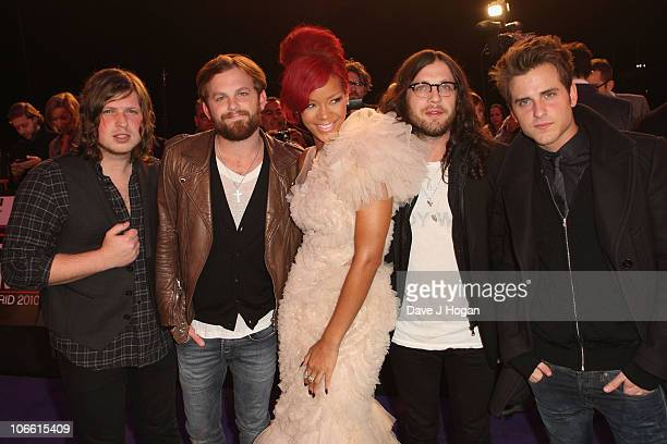 Musicians Matthew Followill Caleb Followill Rihanna Nathan Followill and Jared Followill of Kings Of Leon attend the MTV Europe Awards 2010 at the La...