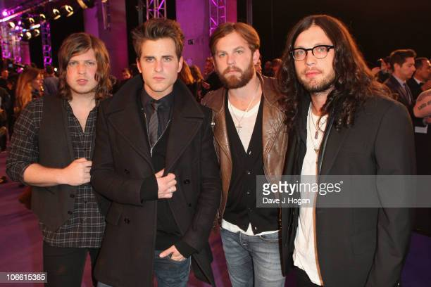 Musicians Matthew Followill Nathan Followill Jared Followill and Caleb Followill of Kings of Leon attend the MTV Europe Awards 2010 at the La Caja...