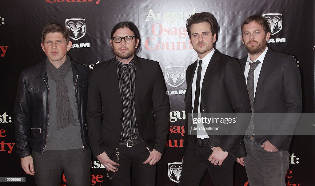 Musicians Matthew Followill, Nathan Followill, Jared Followill and Caleb Followill of Kings of Leon attend the 'August: Osage County' premiere at Ziegfeld Theater on December 12, 2013 in New York City.