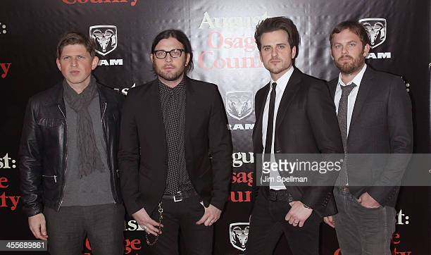 Musicians Matthew Followill Nathan Followill Jared Followill and Caleb Followill of Kings of Leon attend the 'August Osage County' premiere at...