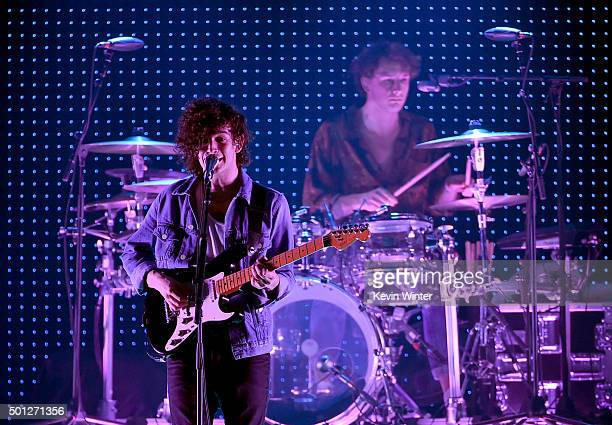 Musicians Matthew Healy and George Daniel of The 1975 perform onstage during 1067 KROQ Almost Acoustic Christmas 2015 at The Forum on December 13...