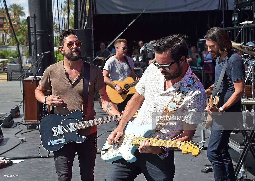 Musicians Matthew Ramsey (L) and Brad Tursi of Old Dominion perform onstage during 2016 Stagecoach California's Country Music Festival at Empire Polo Club on May 01, 2016 in Indio, California.