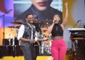 Musicians Maxwell and Alicia Keys perform on ABC's 'Good Morning America' at Rumsey Playfield on August 30 2013 in New York City