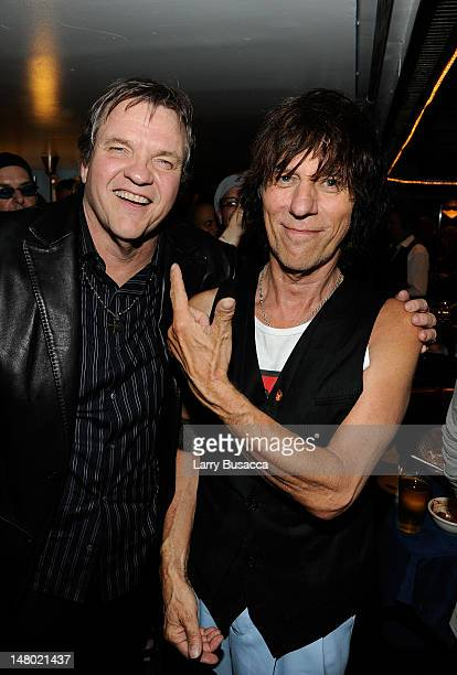 Musicians Meat Loaf and Jeff Beck attend the after party at Les Paul's 95th Birthday with Special Intimate Performance at Iridium Jazz Club on June 9...