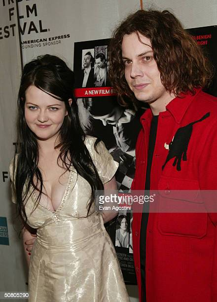 Musicians Meg and Jack White of the music band White Stripes at the New York Premiere of United Artists's 'Coffee and Cigarettes' during the 2004...