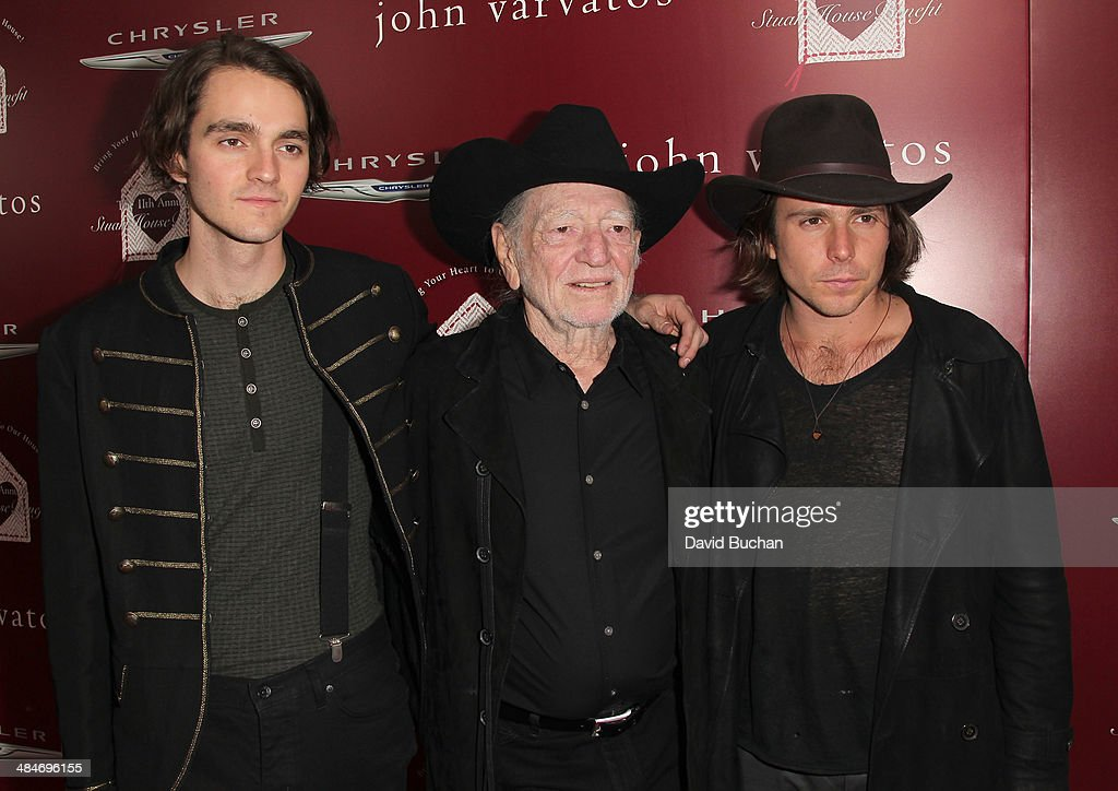 Musicians Micah Nelson Willie Nelson and Lukas Nelson attend the 11th Annual John Varvatos Stuart House Benefit at John Varvatos on April 13 2014 in...