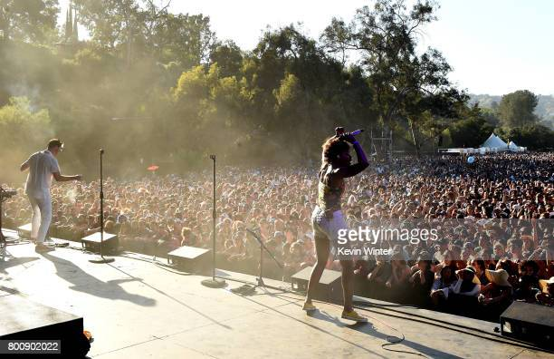 Musicians Michael Fitzpatrick and Noelle Scaggs of musical group Fitz and The Tantrums perform on The Oak stage during Arroyo Seco Weekend at the...