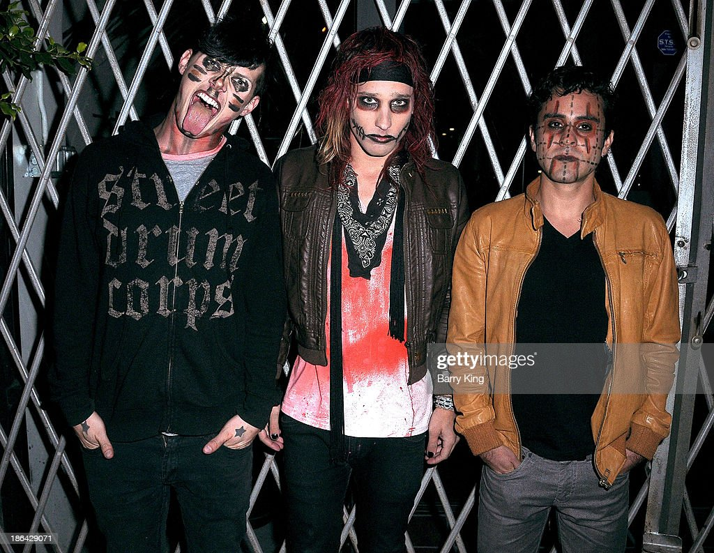 Musicians Michael Snoddy, singer Bobby Shafto and Pablo Gomez of the band SHAFTO pose at their concert on October 30, 2013 at Club Moscow in Hollywood, California.