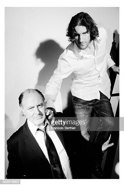 Musicians Michel Delpech and Alexis Rault are photographed for Self Assignment on July 23 2009 in Paris France