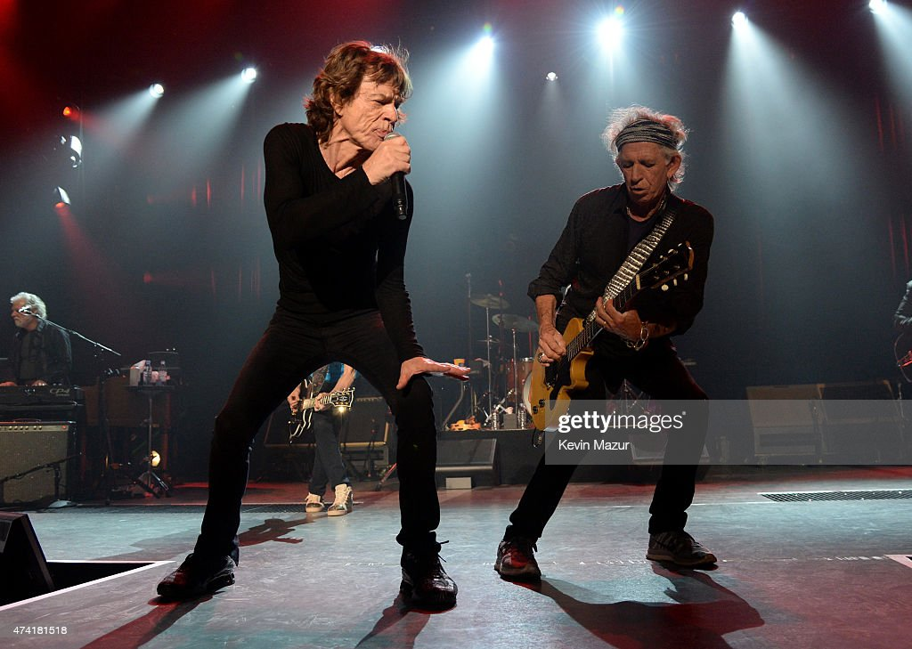 Musicians Mick Jagger (L) and Keith Richards perform onstage during The Rolling Stones Los Angeles Club Show at The Fonda Theatre on May 20, 2015 in Los Angeles, California. The Rolling Stones played a special surprise show at The Fonda Theatre in Los Angeles with a one-time only set featuring the original Sticky Fingers album in its entirety with additional Stones hits. The intimate performance was a celebration of the June 9th re-issue of the Sticky Fingers album, one of the most revered albums in the band's storied catalog, the 1971 classic features timeless tracks such as 'Brown Sugar', 'Wild Horses', 'Bitch', 'Sister Morphine' and 'Dead Flowers'. The Stones will kick off their 15-city North American ZIP CODE Tour at Petco Park in San Diego on Sunday, May 24, 2015.