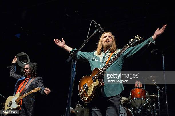 Musicians Mike Campbell Tom Petty and Randall Marsh of Mudcrutch perform on stage during the final night of their tour at Humphrey's on June 30 2016...