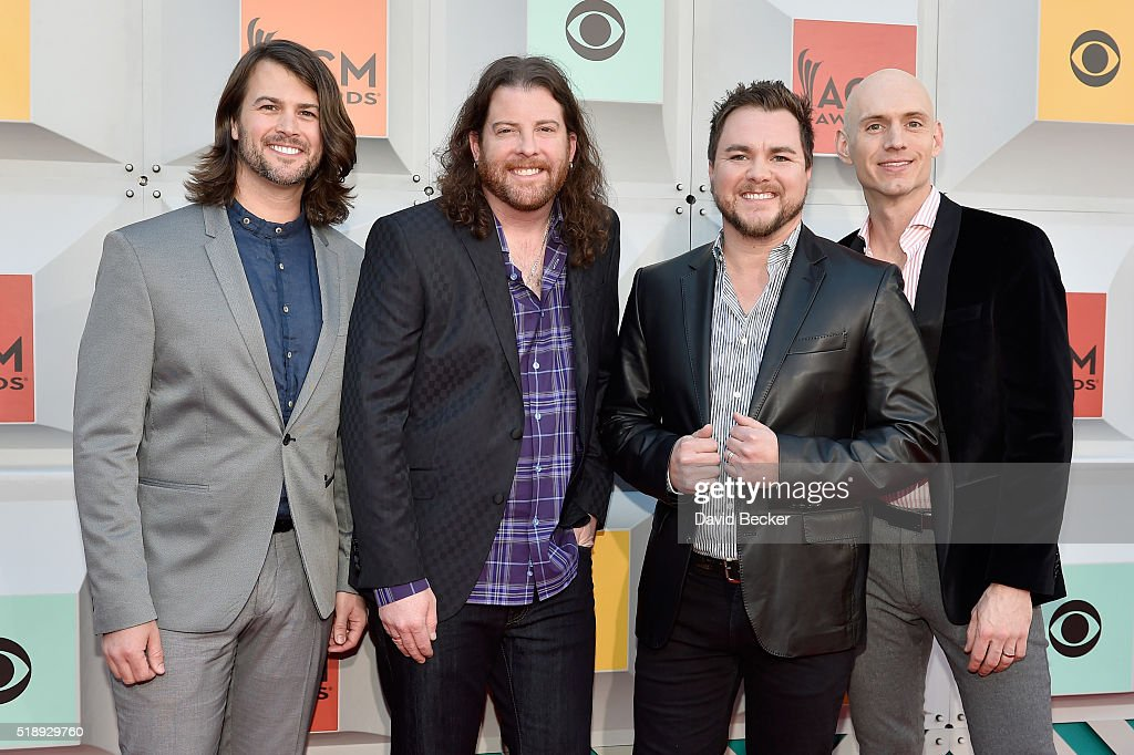 Musicians Mike Eli, James Young, Chris Thompson, and Jon Jones of Eli Young Band attend the 51st Academy of Country Music Awards at MGM Grand Garden Arena on April 3, 2016 in Las Vegas, Nevada.