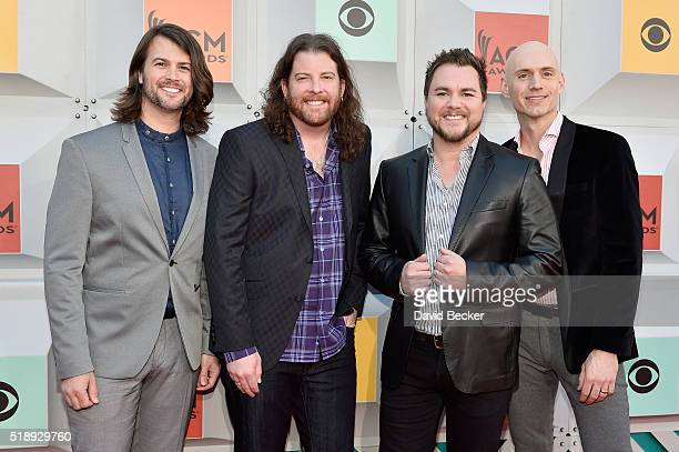 Musicians Mike Eli James Young Chris Thompson and Jon Jones of Eli Young Band attend the 51st Academy of Country Music Awards at MGM Grand Garden...