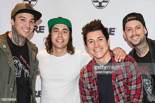 Musicians Mike Fuentes Vic Fuentes Jamie Preciado and Tony Perry of Pierce The Veil attend The 2017 NAMM Show on January 20 2017 in Anaheim California