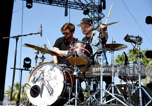 Musicians Mike Kerr and Ben Thatcher of Royal Blood perform onstage during day 2 of the 2015 Coachella Valley Music And Arts Festival at The Empire...