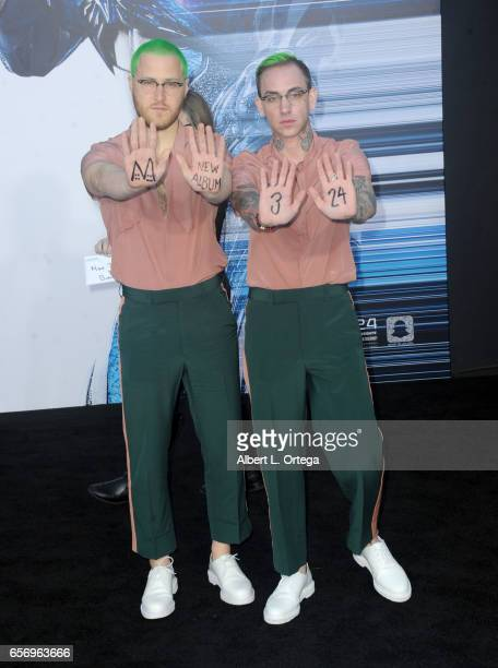 Musicians Mike Posner and Blackbear arrive for the Premiere Of Lionsgate's 'Power Rangers' held on March 22 2017 in Westwood California