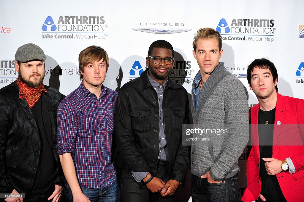 Musicians Mike Retondo, Dave Tirio, De'Mar Hamilton, Tim Lopez and Tom Higgenson of the Plain White T's arrive at the Arthritis Foundation's annual gala at The Beverly Hilton Hotel on October 25, 2012 in Beverly Hills, California.