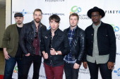 Musicians Mike Retondo Tim LopezTom Higgenson Dave Tirio and De Mar Hamilton of the group Plain White T's attends the Pinoy Relief Benefit concert at...