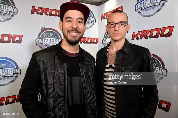 Musicians Mike Shinoda and Chester Bennington of Linkin Park attend day one of the 25th annual KROQ Almost Acoustic Christmas at The Forum on...