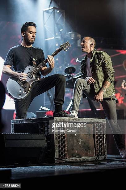 Musicians Mike Shinoda and Chester Bennington of Linkin Park perform at The Wiltern for Guitar Center's 50th Anniversary on October 24 2014 in Los...