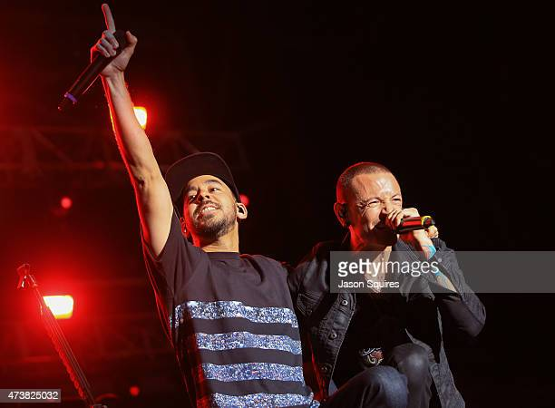 Musicians Mike Shinoda and Chester Bennington of Linkin Park perform at MAPFRE Stadium on May 17 2015 in Columbus Ohio
