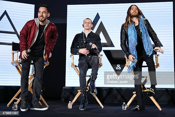 Musicians Mike Shinoda Chester Bennington and Jared Leto attend the 'Carnivores' tour announcement with Linkin Park 30 Seconds to Mars and AFI at...