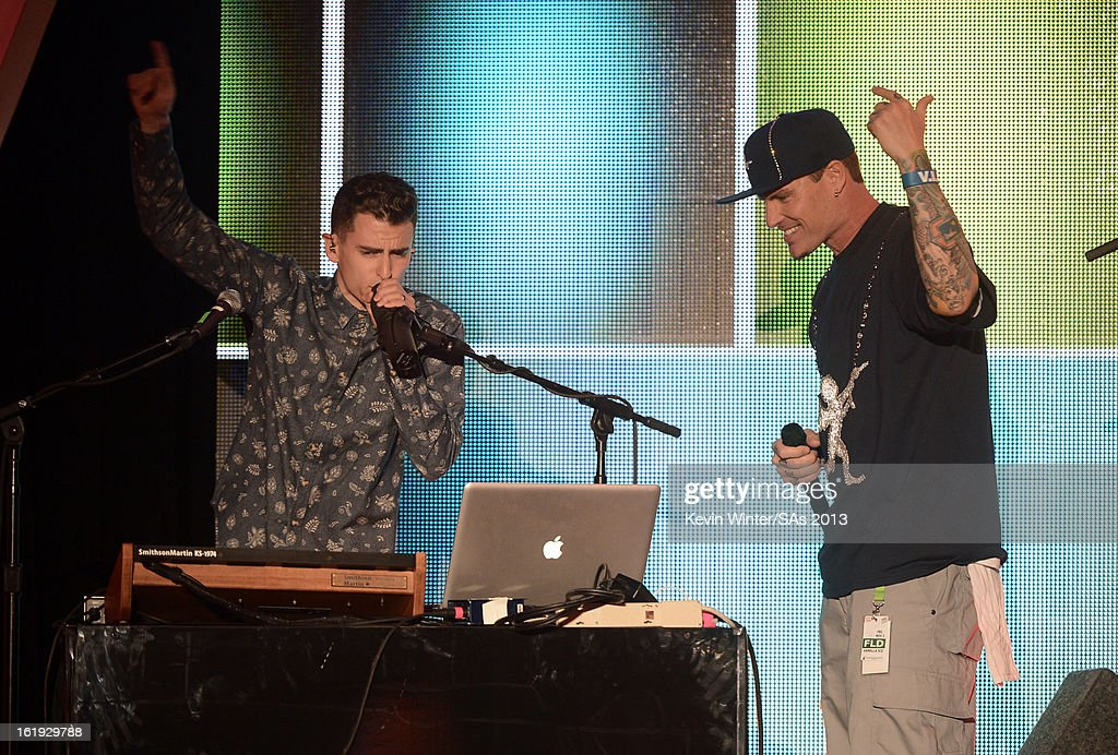 Musicians Mike Tompkins and <a gi-track='captionPersonalityLinkClicked' href=/galleries/search?phrase=Vanilla+Ice&family=editorial&specificpeople=228351 ng-click='$event.stopPropagation()'>Vanilla Ice</a> perform onstage at the 3rd Annual Streamy Awards at Hollywood Palladium on February 17, 2013 in Hollywood, California.