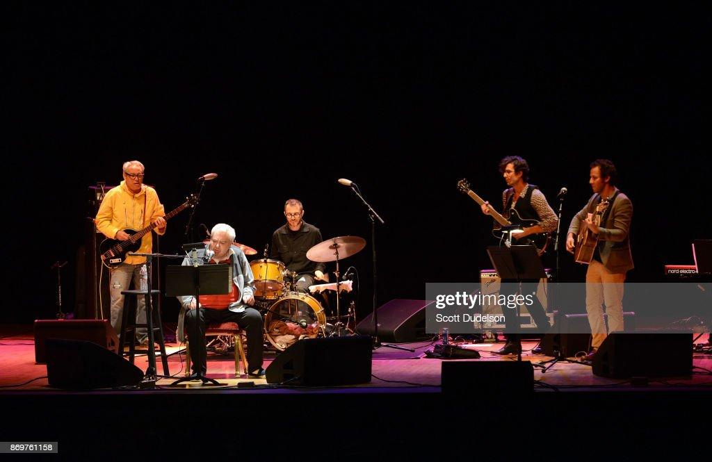 Musicians Mike Watt, Daniel Johnston, Joey Waronker, Guy Blakeslee and Ben Lee perform onstage at The Orpheum Theatre on November 2, 2017 in Los Angeles, California.