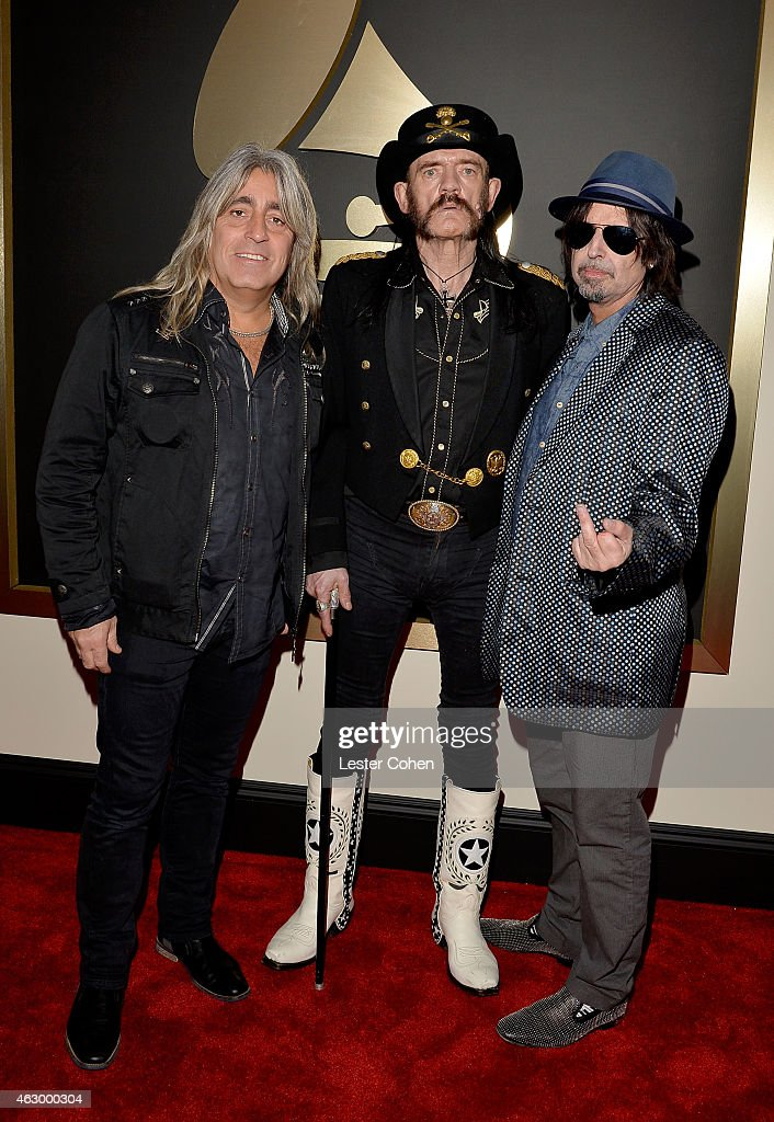 Musicians Mikkey Dee, Ian Fraser Kilmister and Phil Campbell of Motorhead attend The 57th Annual GRAMMY Awards at the STAPLES Center on February 8, 2015 in Los Angeles, California.