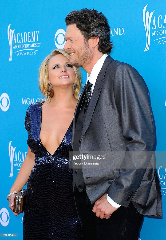 Musicians Miranda Lambert and Blake Shelton arrive for the 45th Annual Academy of Country Music Awards at the MGM Grand Garden Arena on April 18, 2010 in Las Vegas, Nevada.