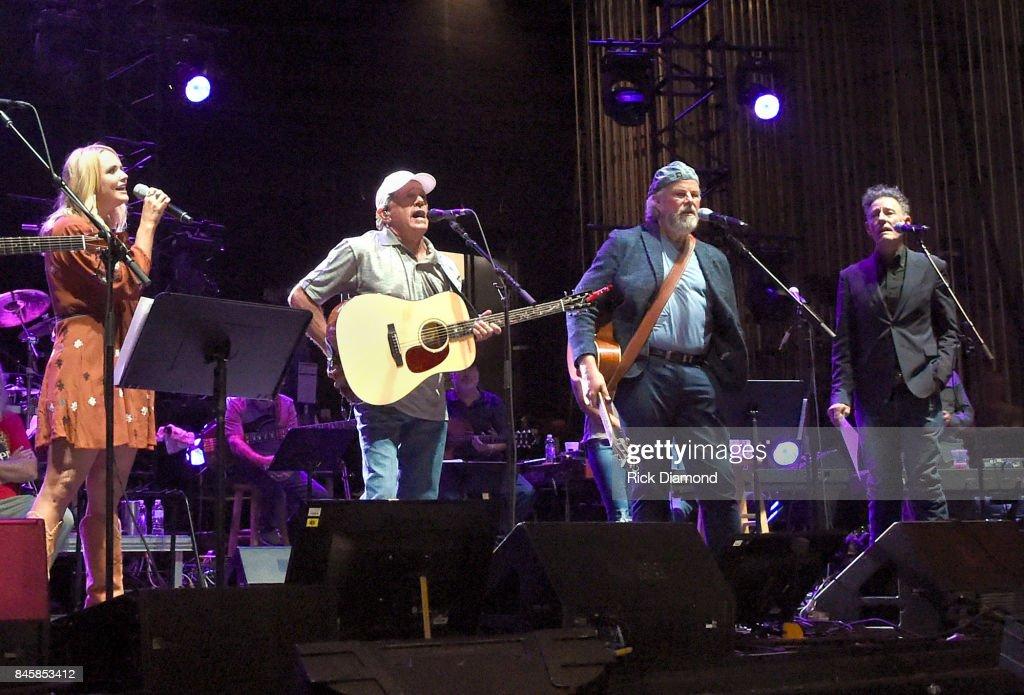 Musicians Miranda Lambert, George Strait, Robert Earl Keen and Lyle Lovett perform onstage during George Strait's Hand In Hand benefit concert rehearsal to rebuild Texas on September 11, 2017 in San Antonio, Texas.