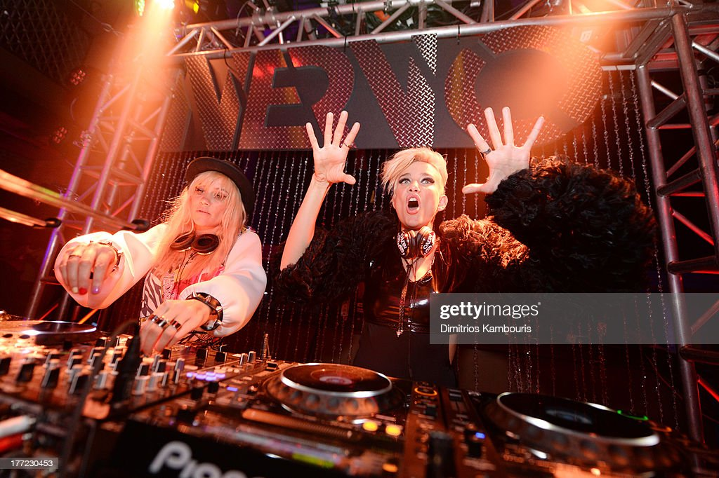 Musicians Miriam Nervo (L) and Olivia Nervo perform at Easy, Breezy, Brooklyn hosted by Becky G and presented by MTV and COVERGIRL at Music Hall of Williamsburg on August 22, 2013 in the Brooklyn borough of New York City.