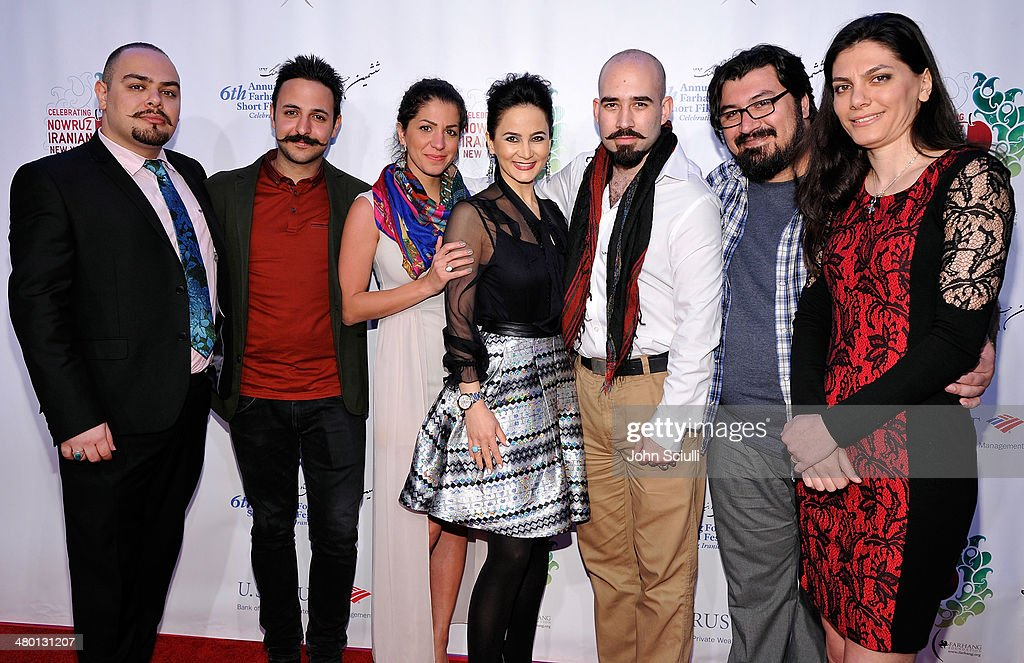 Musicians Nasi Man, Parham Ajami, Shohreh Khatoon, Amin Ajami, Arash Fayyazy and Sara Baji of Ajam with Bita Milanian (C) attend the 6th Annual Farhang Foundation's Short Film Festival award ceremony and reception at LACMA on March 22, 2014 in Los Angeles, California.