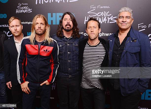 Musicians Nate Mendel Taylor Hawkins Dave Grohl Chris Shiflett and Pat Smear of The Foo Fighters attends The 'Foo Fighters Sonic Highways' New York...