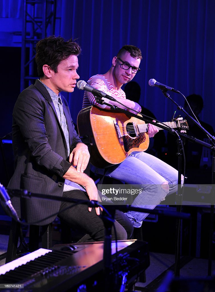 Musicians Nate Ruess (L) and Jack Antonoff of the band Fun. perform a private concert to celebrate Delta Air Lines' Nonstop NYC challenge at SLS Hotel on Feb. 4, 2013 in Beverly Hills, California.