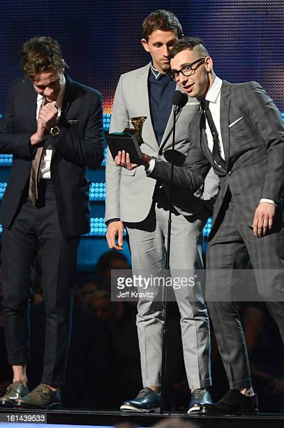 Musicians Nate Ruess Andrew Dost and Jack Antonoff of fun accept an award onstage at the 55th Annual GRAMMY Awards at Staples Center on February 10...