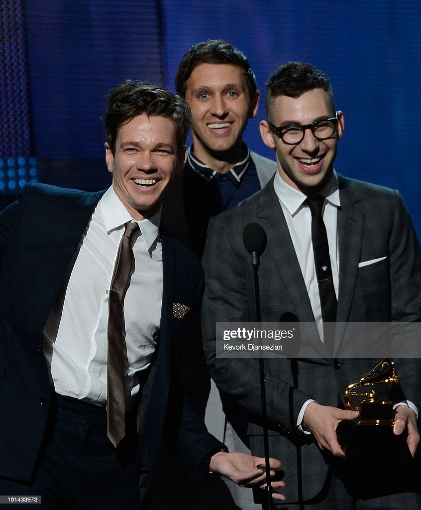 Musicians <a gi-track='captionPersonalityLinkClicked' href=/galleries/search?phrase=Nate+Ruess&family=editorial&specificpeople=6897270 ng-click='$event.stopPropagation()'>Nate Ruess</a>, <a gi-track='captionPersonalityLinkClicked' href=/galleries/search?phrase=Andrew+Dost&family=editorial&specificpeople=7336071 ng-click='$event.stopPropagation()'>Andrew Dost</a> and <a gi-track='captionPersonalityLinkClicked' href=/galleries/search?phrase=Jack+Antonoff&family=editorial&specificpeople=2565373 ng-click='$event.stopPropagation()'>Jack Antonoff</a> of fun. accept Song of the Year award for 'We Are Young' onstage at the 55th Annual GRAMMY Awards at Staples Center on February 10, 2013 in Los Angeles, California.