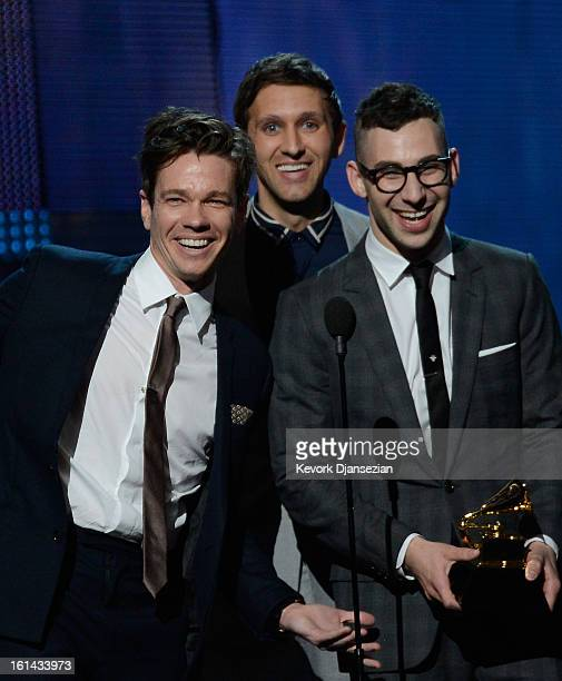 Musicians Nate Ruess Andrew Dost and Jack Antonoff of fun accept Song of the Year award for 'We Are Young' onstage at the 55th Annual GRAMMY Awards...