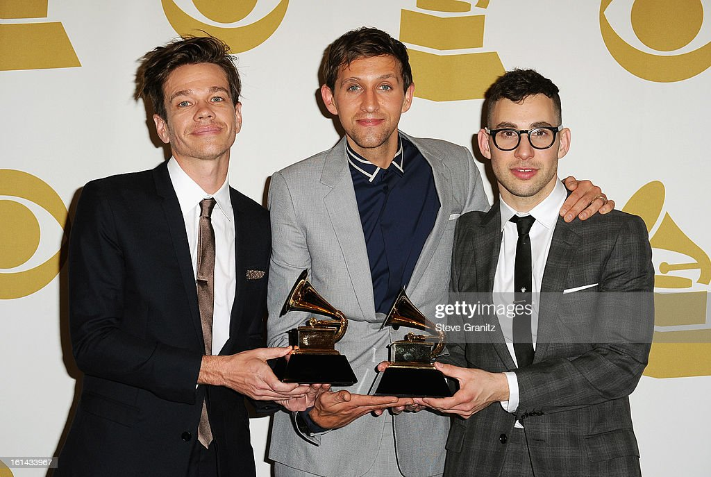 Musicians <a gi-track='captionPersonalityLinkClicked' href=/galleries/search?phrase=Nate+Ruess&family=editorial&specificpeople=6897270 ng-click='$event.stopPropagation()'>Nate Ruess</a>, <a gi-track='captionPersonalityLinkClicked' href=/galleries/search?phrase=Andrew+Dost&family=editorial&specificpeople=7336071 ng-click='$event.stopPropagation()'>Andrew Dost</a>, and <a gi-track='captionPersonalityLinkClicked' href=/galleries/search?phrase=Jack+Antonoff&family=editorial&specificpeople=2565373 ng-click='$event.stopPropagation()'>Jack Antonoff</a> of Fun. pose in the press room during the 55th Annual GRAMMY Awards at STAPLES Center on February 10, 2013 in Los Angeles, California.
