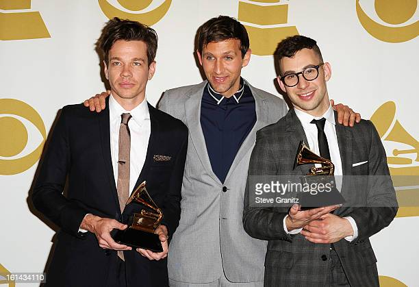 Musicians Nate Ruess Andrew Dost and Jack Antonoff of Fun pose in the press room during the 55th Annual GRAMMY Awards at STAPLES Center on February...