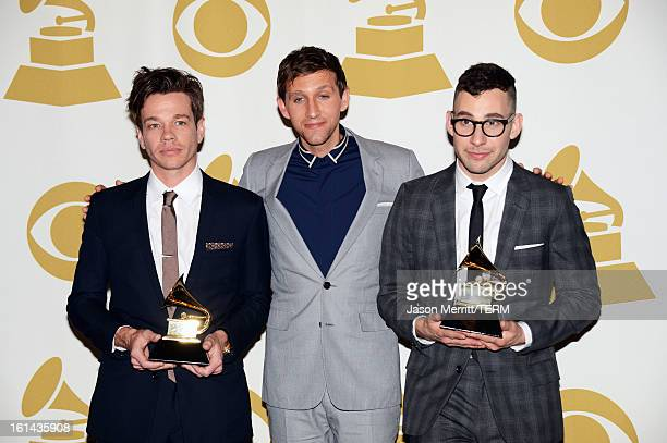Musicians Nate Ruess Andrew Dost and Jack Antonoff of the band fun winner Best New Album and Song of The Year 'We Are Young' pose in the press room...