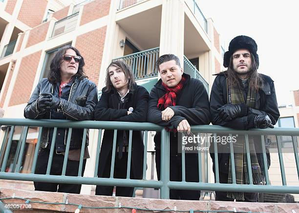 Musicians Nate Shaw Jon LaRue Anthony Burulicich and Brian Bell of the band The Relationship pose for a portrait before performing at the Sundance...