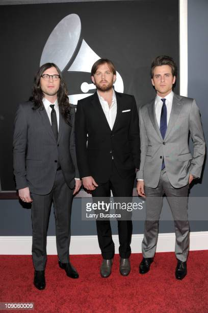 Musicians Nathan Followill Caleb Followill and Jared Followill of Kings of Leon arrive at The 53rd Annual GRAMMY Awards held at Staples Center on...