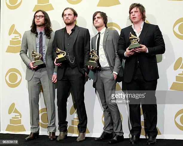 Musicians Nathan Followill Caleb Followill Jared Followill and Matthew Followill of Kings Of Leon pose in the press room at the 52nd Annual GRAMMY...