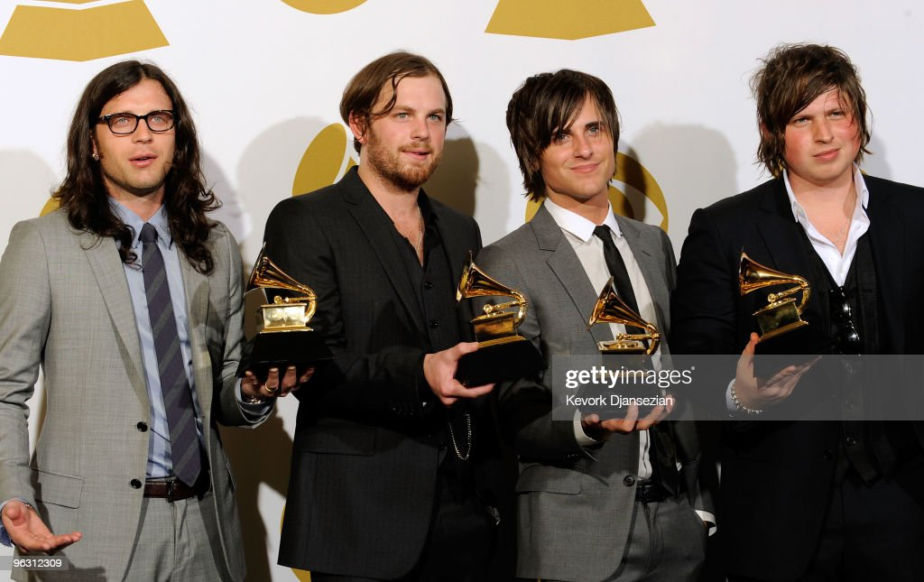 Musicians Nathan Followill Caleb Followill Jared Followill and Matthew Followill of Kings Of Leon pose with Best Rock Performance By A Duo Or Group...