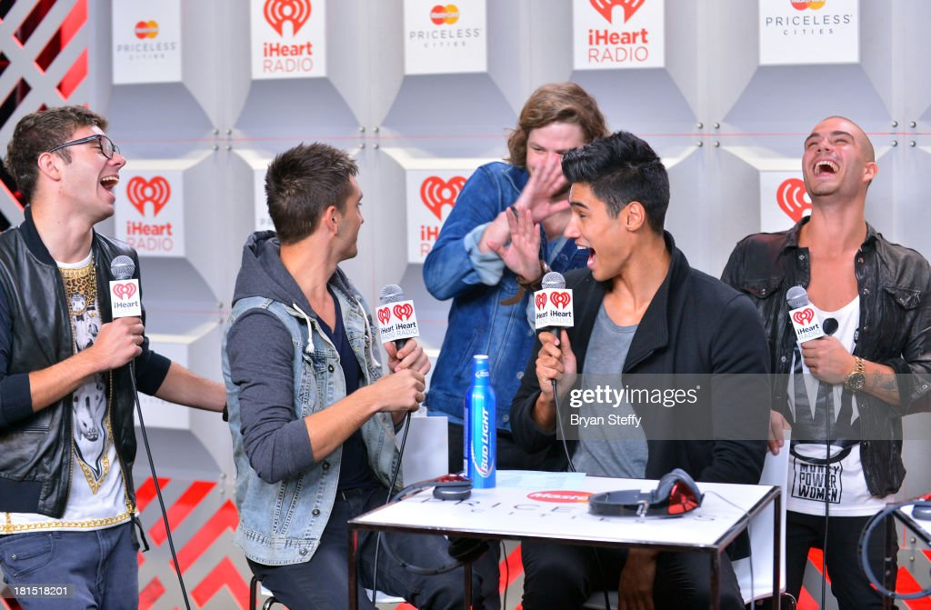 Musicians Nathan Sykes, Tom Parker, Jay McGuiness, Siva Kaneswaran and Max George of The Wanted attend the iHeartRadio Music Festival at the MGM Grand Garden Arena on September 21, 2013 in Las Vegas, Nevada.