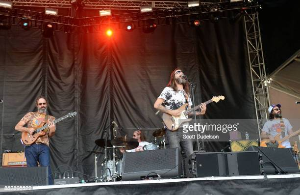 Musicians Neal Casal Tony Leone Chris Robinson and Jeff Hill of the Chris Robinson Brotherhood performs onstage during the Bourbon Beyond Festival at...