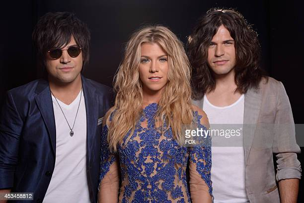 Musicians Neil Perry Kimberly Perry and Reid Perry of The Band Perry pose for a portrait during the FOX 2014 Teen Choice Awards at The Shrine...