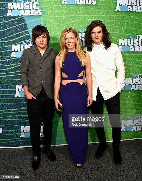 Musicians Neil Perry Kimberly Perry and Reid Perry of The Band Perry attends the 2015 CMT Music awards at the Bridgestone Arena on June 10 2015 in...