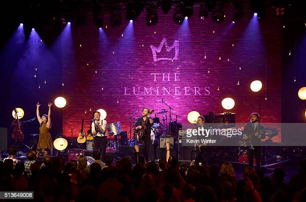 Musicians Neyla Pekarek Jeremiah Fraites Wesley Schultz Byron Isaacs and Stelth Ulvang of The Lumineers perform on the ATT LIVE stage at the...
